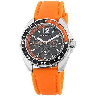 Nautica Men's Sport Orange Strap Black Dial Watch