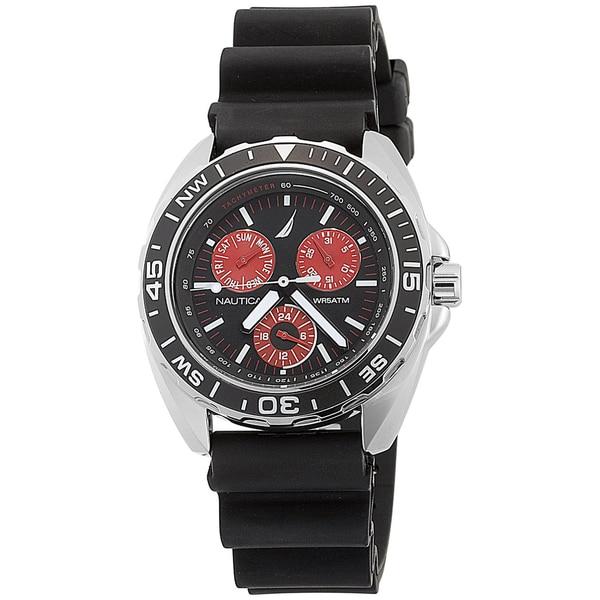 Nautica Men's 'Sport Ring' Black and Red Analog Watch