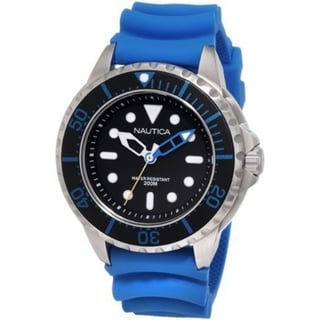 Nautica Men's Blue Strap Black Dial Stainless Steel Watch