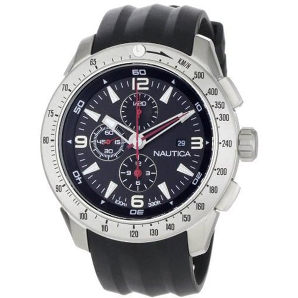 Nautica Men's Black Strap Stainless Steel Chrono Watch