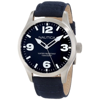Nautica Men's Classic Blue Dial Blue Cloth Strap Quartz Watch
