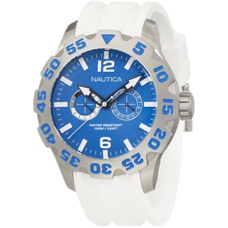 Nautica Men's Blue Dial and White Resin Strap Quartz Watch