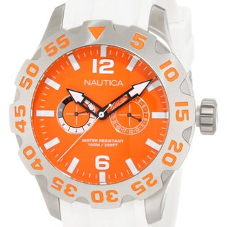 Nautica Men's Orange Dial and Silver Rubber Strap Quartz Watch