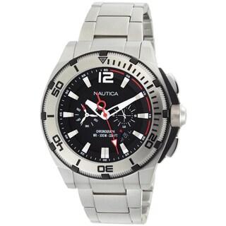 Nautica Men's Black Dial and Stainless Steel Bracelet Quartz Watch