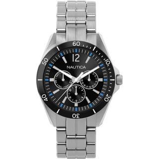 Nautica Men's Black Dial Stainless Steel Water Resistant Quartz Watch