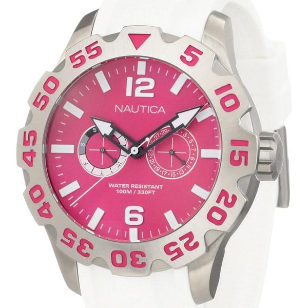 Nautica Women's White Strap Pink Dial Steel Watch