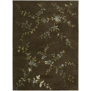 Hand-tufted Modern Elegance Floral Brown Wool Rug (8' x 11')
