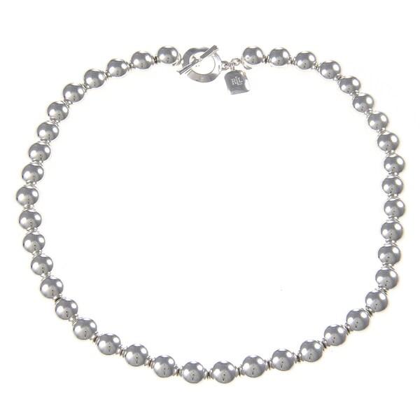 Ralph Lauren Beaded Silvertone Necklace