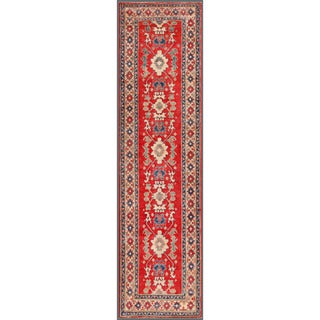 Afghan Hand-Knotted Kazak Red/Ivory Wool Area Rug (2'10