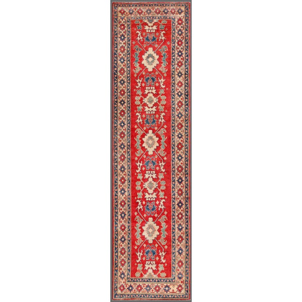 "Afghan Hand-Knotted Kazak Red/Ivory Wool Area Rug (2'10"" x 10'8"")"