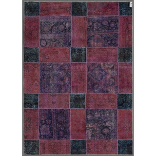 Pak Persian Hand-knotted Patchwork Multi-colored Wool Rug (6'11 x 9'11)