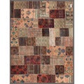 Pak Persian Hand-knotted Patchwork Multi-colored Wool Rug (6'7 x 8'7)