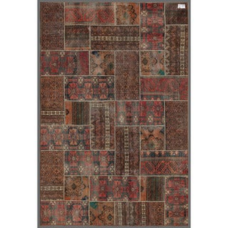 "Pak Persian Hand-Knotted Patchwork Multi-Colored Wool Area Rug (5'11"" x 8'10"")"