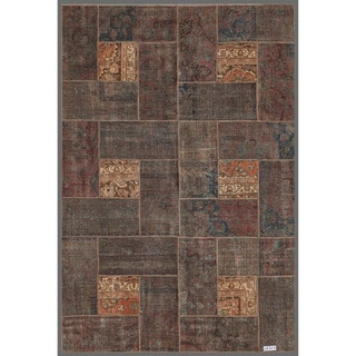 "Pakistan Persian Hand-Knotted Patchwork Multicolored Geometric-Patterned Wool Area Rug (5'11"" x 8'11"")"