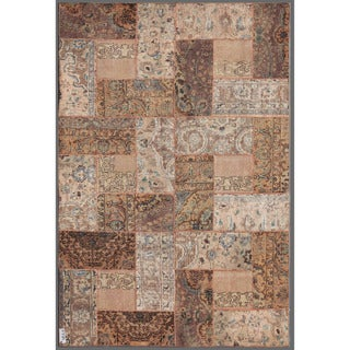 Traditional Pakistan Persian Hand-Knotted Patchwork Multicolored Geometric-Patterned Wool Rug (5'11
