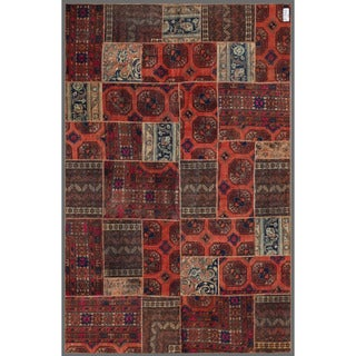 Herat Oriental Pakistan Persian Hand-knotted Patchwork Multi-colored Wool Area Rug (5'11 x 8'11)