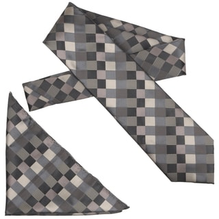 Boston Traveler Men's Diamond Pattern Microfiber Tie and Hanky Set
