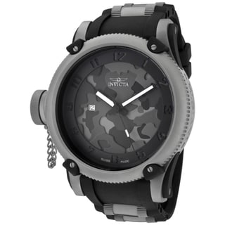 Invicta Men's 'Russian Diver/Night Owl' Black Polyurethane Watch
