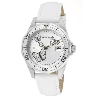Invicta Women's 'Pro Diver' White Genuine Calf Leather Watch