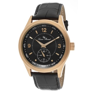 Lucien Piccard Men's 'Grande Casse' Black Genuine Leather Watch