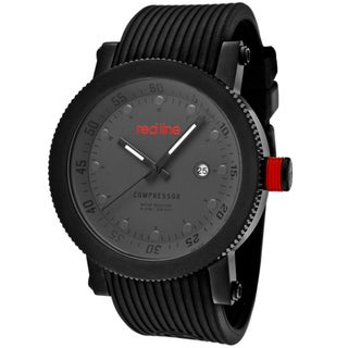 Red Line Men's 'Compressor' Black Silicone Watch