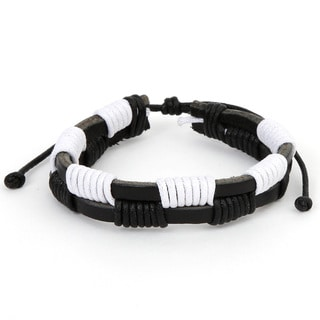 Black and White Checkered Leather Fashion Bracelet