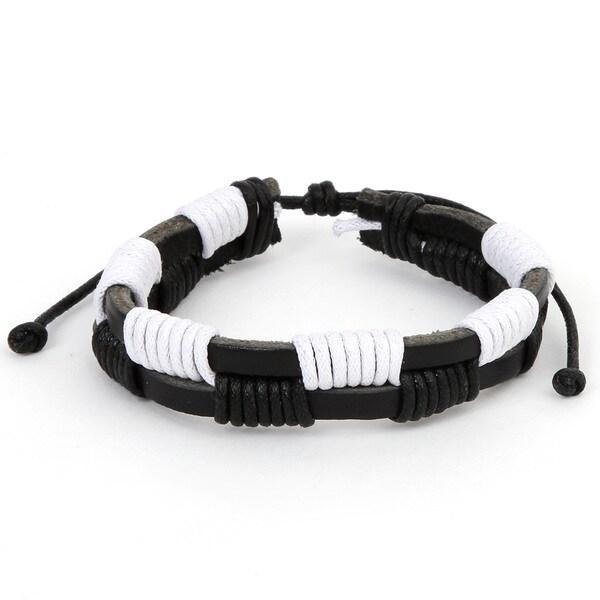 Black and White Checkered Leather Fashion Bracelet
