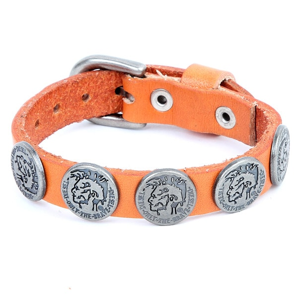 Silvertone and Orange Leather 'Brave Mohawk' Button Bracelet