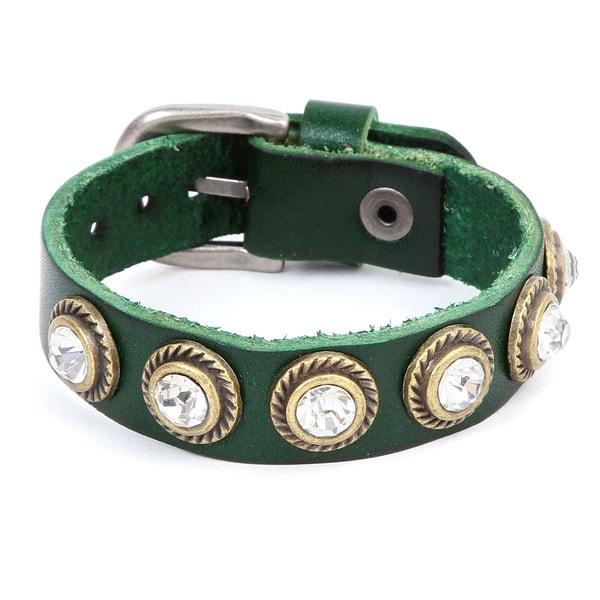 Goldtone and Green Leather Cubic Zirconia Stud Bracelet