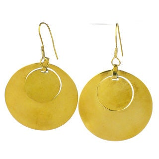 Handcrafed Recycled Double Brass Bomb Casing Earrings (Cambodia)