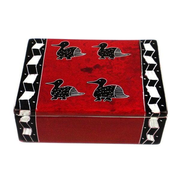 Handcarved Soapstone Trinket Box - Red with 4 Birds (Kenya)
