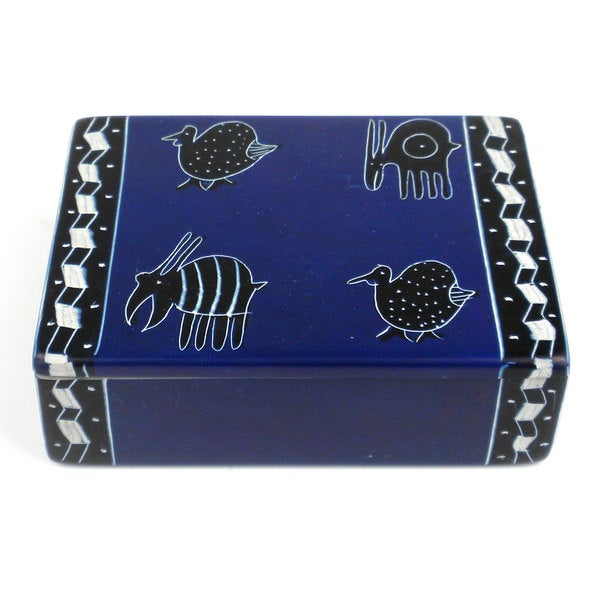 Handcarved Soapstone Trinket Box - Blue with 4 Animals (Kenya)