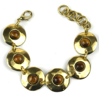 Handcrafted Bonbon Gold Tiger Eye Link Bracelet (South Africa)