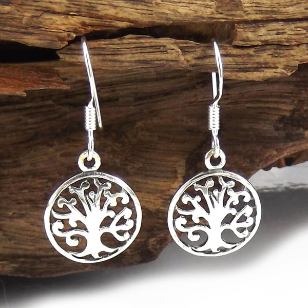 Sterling Silver Blossoming Tree of Life Dangle Earrings (Thailand)