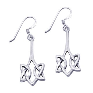 Silver Pointed Celtic Knot Drop Dangle Earrings (Thailand)