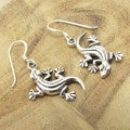 Sterling Silver Upside Down Gecko Dangle Earrings (Thailand)