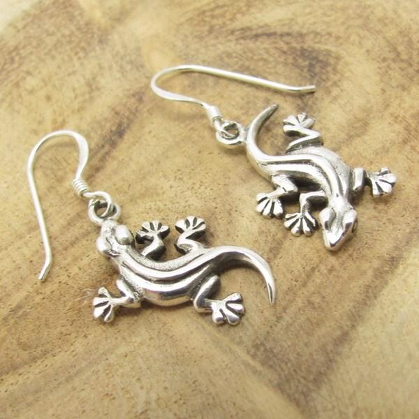 Sterling Silver Upside Down Gecko Dangle Earrings (Thailand)