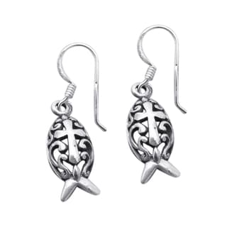 Sterling Silver Christian Fish Swirl Cross Dangle Earrings (Thailand)