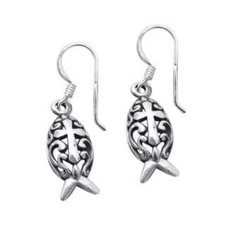 Sterling Silver Christian Fish Swirl Cross Dangle Earrings (Thailand)
