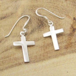 Sterling Silver Simple Cross Dangle Earrings (Thailand)