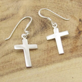 Sterling Silver Simple Cross Dangle Earrings (Thailand)