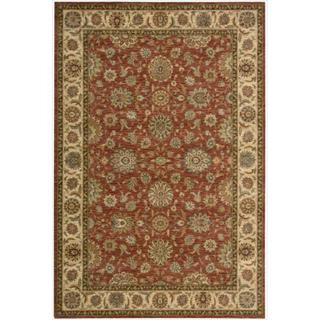 Living Treasures Floral Rust Wool Rug (2'6 x 4'3)