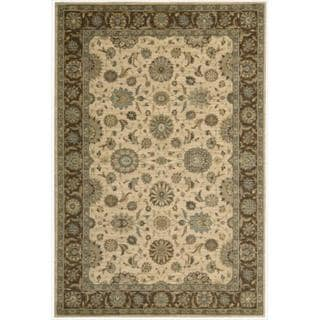 Living Treasures Traditional Floral Beige Wool Rug (2'6 x 4'3)