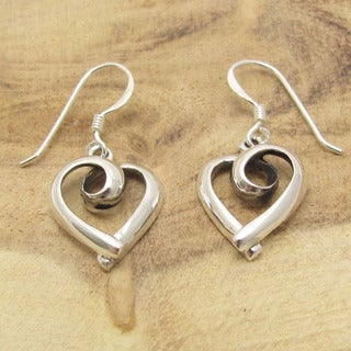 Sterling Silver Loving Heart Ribbon Dangle Earrings (Thailand)