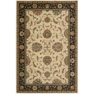 Living Treasures Traditional Floral Ivory and Black Wool Rug (5'6 x 8'3)