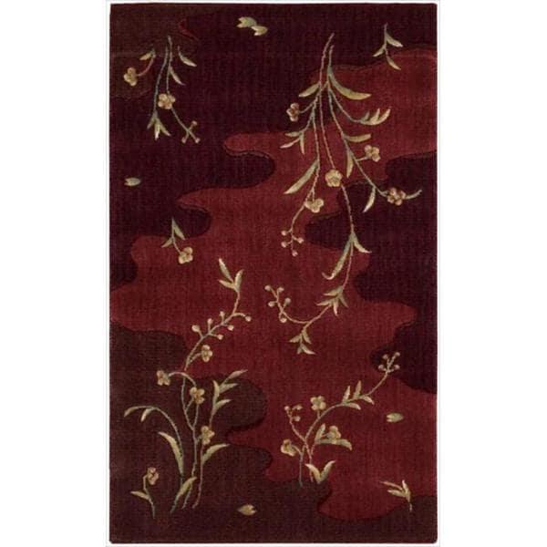 Chambord Flowing Stream Floral Burgundy Rug (2'3 x 3'9)