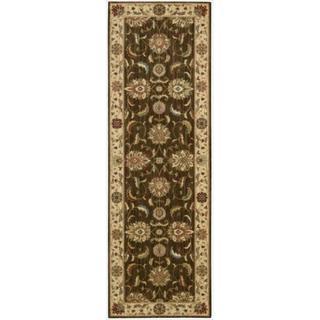 Living Treasures Brown Runner Rug (2'6 x 12)