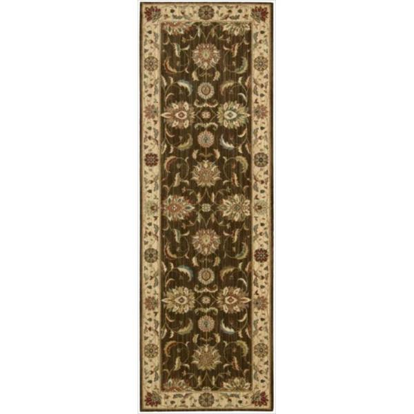 Living Treasures Brown Runner Rug (2'6 x 12)