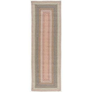 Hand-woven Craftworks Braided Coral Multi Color Runner Rug (2'3 x 7')