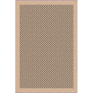 Woven Herringbone Beige/ Black Indoor/ Outdoor Patio Rug (5'3 x 7'6)